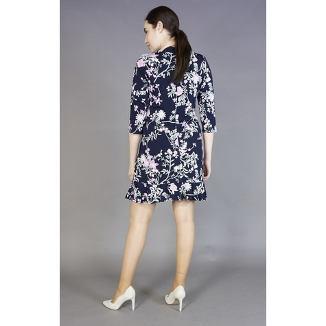 Sandra Darren Navy Round Neck Floral Pattern Dress