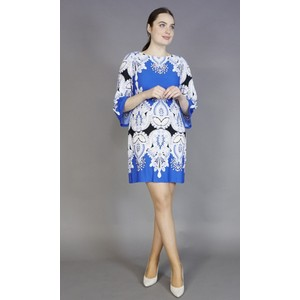 Sandra Darren Royal Blue & White Pattern Print Dress