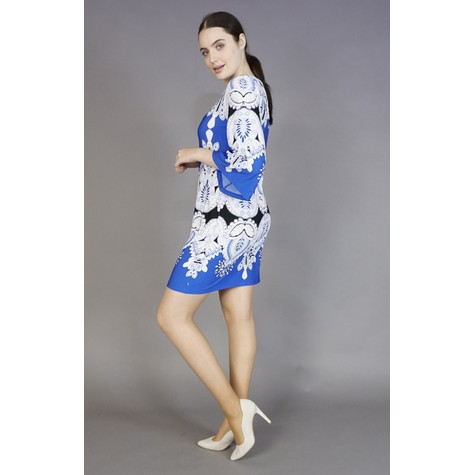 Sandra Darren Royal Blue & White Pattern Print Dress