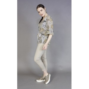 Zapara Grey & Yellow Leaf Print Blouse