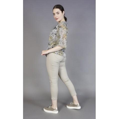 Zapara Grey & Yellow Leaf Print Blouse
