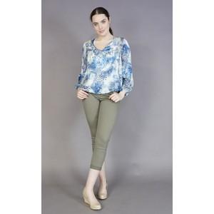 SophieB Blue & Pale Green V-Neck Top