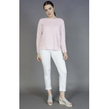 Twist Soft Pink Ripple Button Detail knit