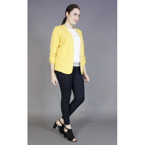 Zapara Yellow Gathered Sleeve Jacket