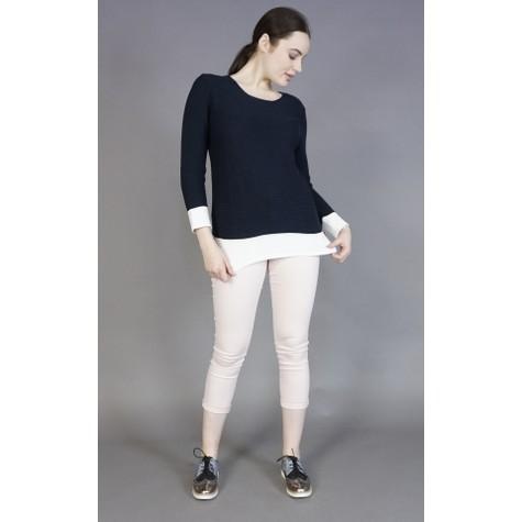 Twist Navy White Trim Knit