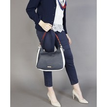 Hampton Navy & White Trim Soft Top Handbag