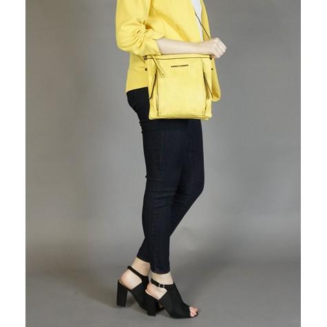 Gionni Yellow Front Zip Detail Handbag