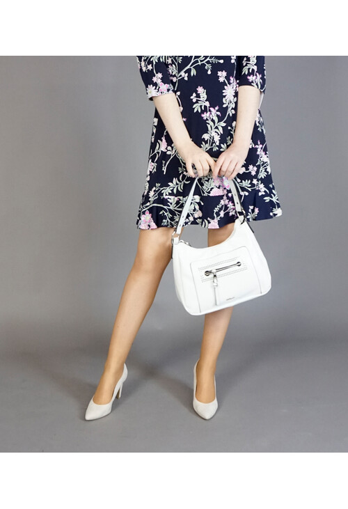 Hampton White Stud Front Detail Handbag