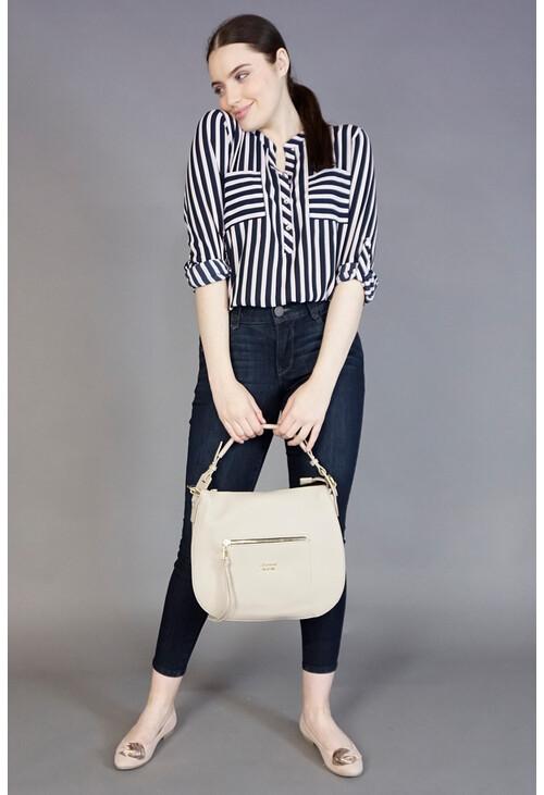 Gionni Oatmeal Gloss Edge Handbag
