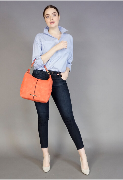 Hampton Coral Black Trim Hobo Bag