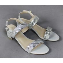 Lunar Silver Diamante Strap Heel