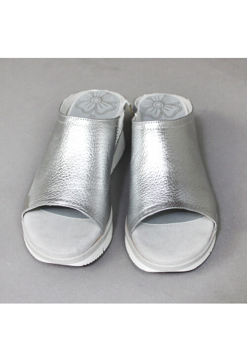 Marco Tozzi Silver Slip On Sandals