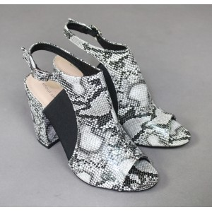 Ideal Shoes Black & White Snake Print Heels