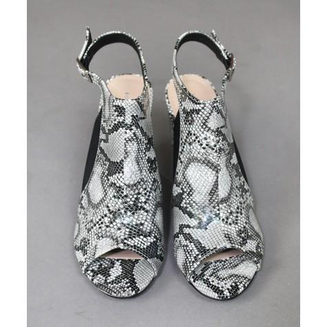 Ideal Shoes Black & White Snake Print Heels