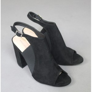 Ideal Shoes Black Strap Heels