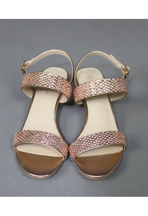 Lunar Rose Gold Diamante Strap Heel