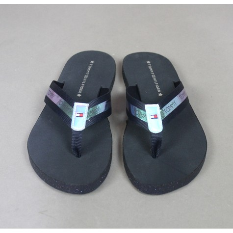 Tommy Hilfiger Midnight & Silver Flat Beach Sandals