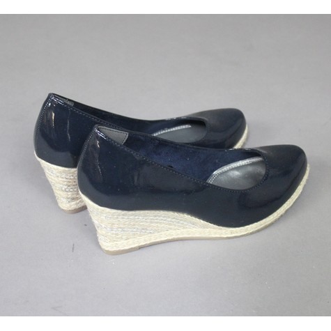 Marco Tozzi Navy Patient Wedge Shoes