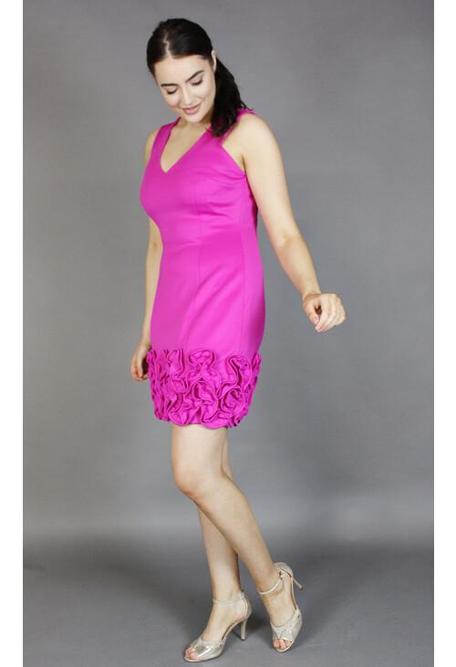 Donna Ricco Fushia Frill Hem Dress