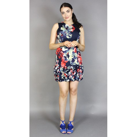 Donna Ricco Navy Floral Print Frill Hem Dress