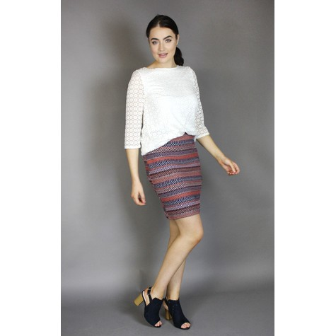 SophieB Coral & Navy Multi Strip Skirt