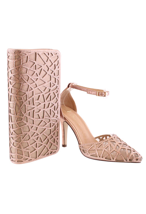 Barino Rose Gold Ankle Mid Heel Shoe