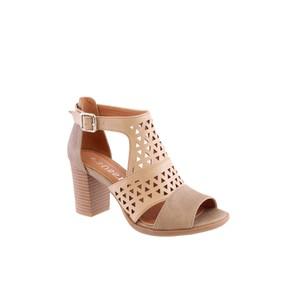 Susst Beige Trendy High-Top Block Heel