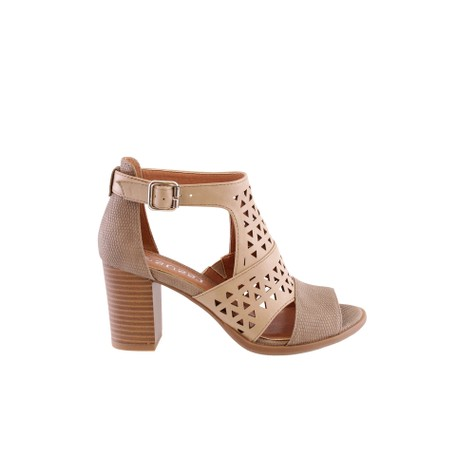 Susst Beige Trendy High-Top Block Heel