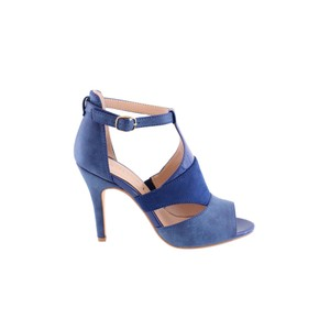 a8b3d799129c Susst Royal Blue Suede Effect Peep Toe Shoe