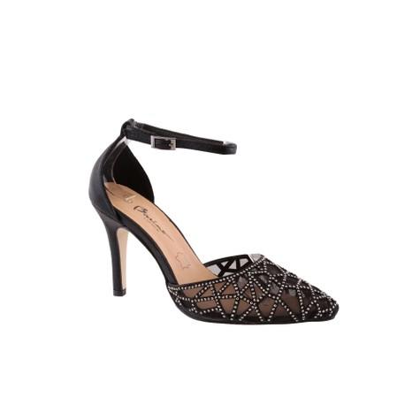 Barino Black Ankle Strap Mid Heel