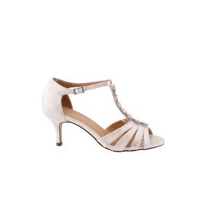 Barino Kitten Heel Silver T Strap Jewel Front Shoe