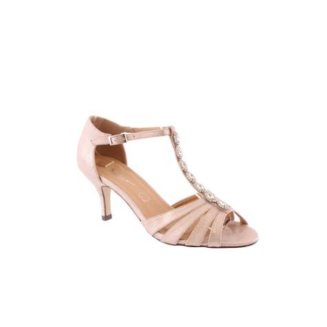 Barino Kitten Heel Rose Gold T Strap Jewel Front Shoe