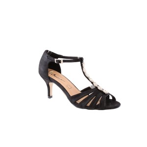 Barino Kitten Heel Black T Strap Jewel Front Shoe