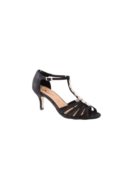 Barino Kitten Heel Black T Strap Jewel Front Shoe