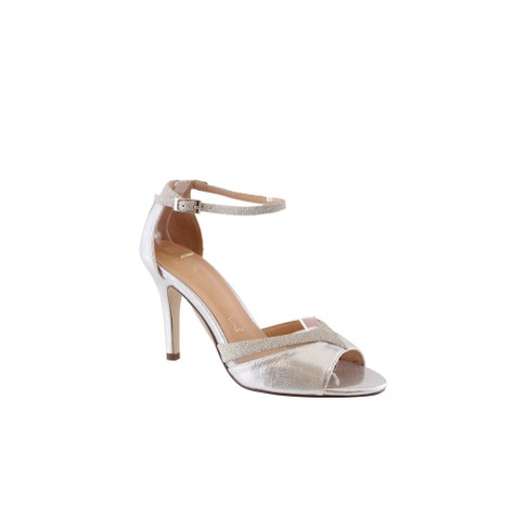 Barino Silver Ankle Strap Mid Heel Shoe