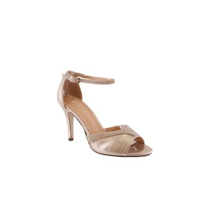Barino Gold Ankle Strap Mid Heel Shoe