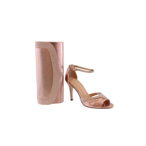 Barino Rose Gold Ankle Strap Mid Heel Shoe