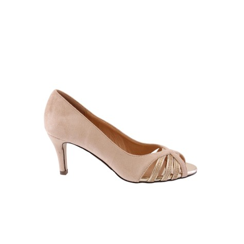 Barino Beige Low Heel Court with Peep Toe Heel