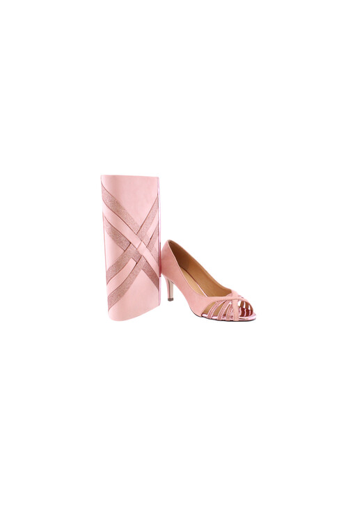 Barino Pink Low Heel Court with Peep Toe Heel