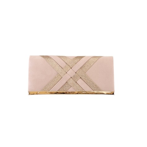 Barino Beige Criss-Cross Pattern Clutch Bag