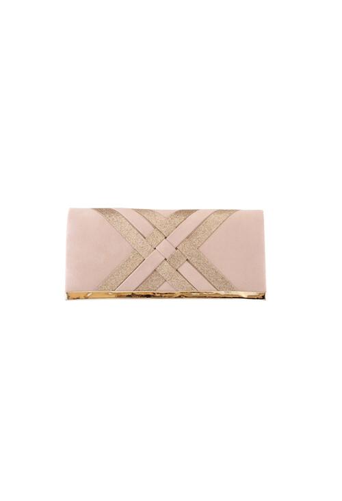 Barino Beige Criss-Cross Pattern Clutch Bag
