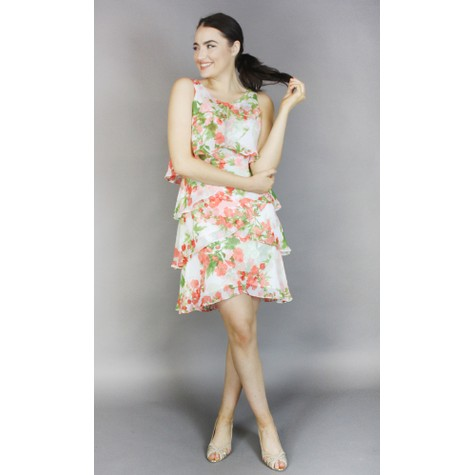 SL Fashions Ivory & Coral Floral Print Layered Dress