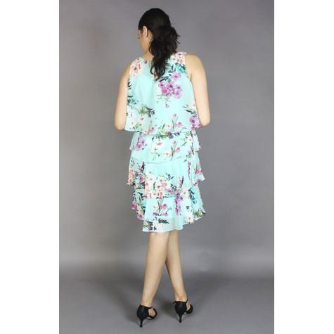 SL Fashions Aqua Multi Floral Print Layered Dress
