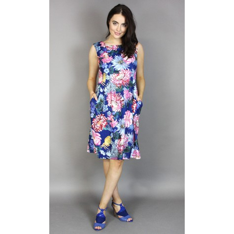 Scarlett Blue & Red Floral Print Dress
