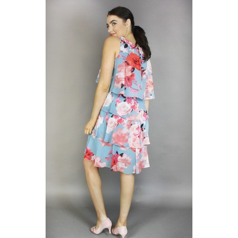 SL Fashions Pale Blue & Coral Floral Print Layered Dress