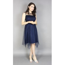 Scarlett Navy Lace Hanky Hem Dress