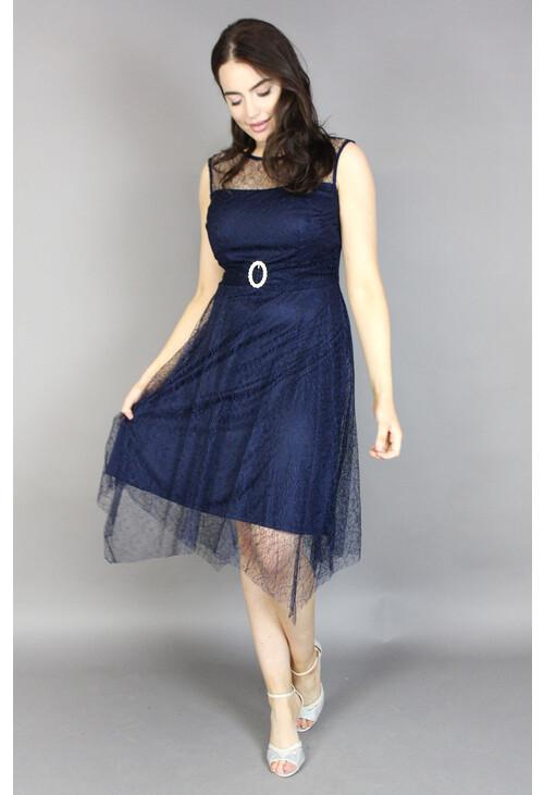 Scarlett Navy Lace Hanky Hem Dress