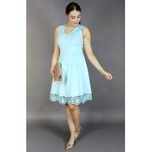 Donna Ricco Aqua Lace Hem Dress