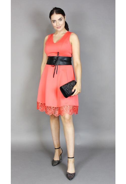 Donna Ricco Coral Lace Hem Dress