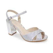 Lunar Silver Block Heel Glam Sandal